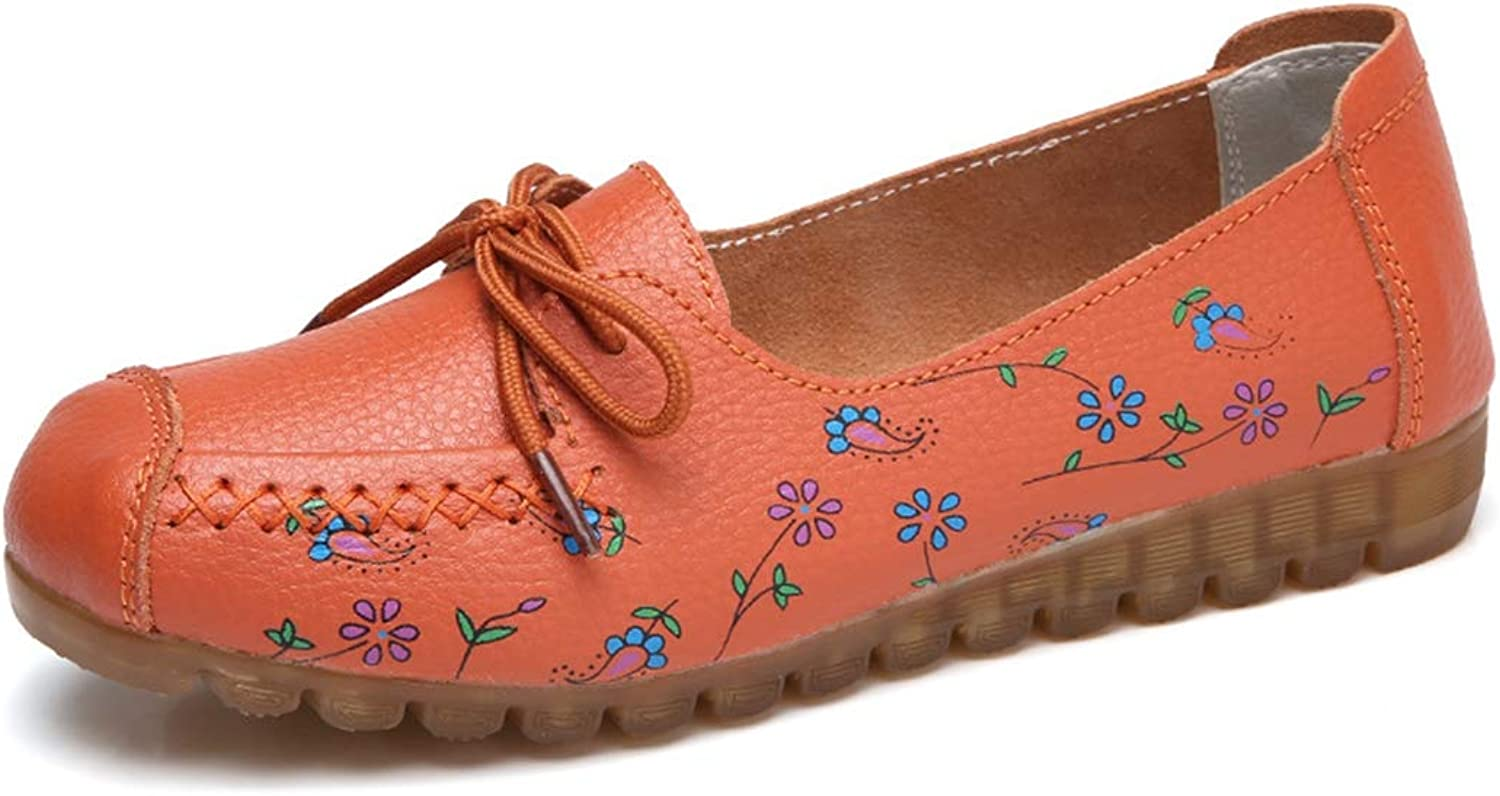 Drew Toby Women's Flats,Soft Surface Print Flower Red orange Spring Peas shoes