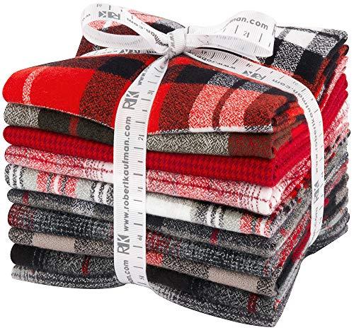 Mammoth Flannel Red 10 Fat Quarters Robert Kaufman Fabrics FQ-1451-10