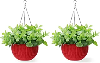 Homes Garden 10.5 in. Dia Plastic Rattan Hanging Planter Red (2-Pack) Flower Plant Hanging Basket for Home Office Garden Porch Balcony Wall Indoor Outdoor Decoration Gift #G726A00