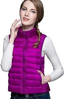 QCHENG Women's Down Vest Packable Lightweight Quilted Gilets Zip Outerwear Coat Jacket Puffer Vest