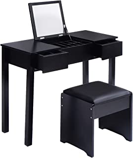 Black Vanity Makeup Table Set Dressing Desk Cosmetic Studio Organizer Box Enclosed Storage Mirrored Bedroom Furniture Wish Cushion Stool