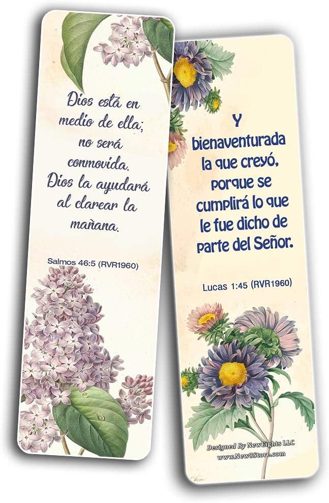 Espa/ñol Flor Marcadores RV Escrituras Serie 1 Colecci/ón de vers/ículos de la Biblia acerca de confiar en Dios m/ás all/á de lo que nuestros ojos f/ísicos pueden ver en espa/ñol 12 Pack
