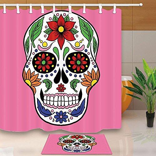 Nyngei Sugar Skull-Duschvorhang, Mexiko, Day of the Dead, Totenkopf-Design, 180x 180cm Duschvorhang, Anti-Schimmel, Flanell-Fußmatte, rutschfest, 60x 40cm, Läufer