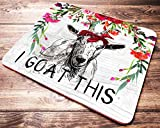 Funny Goat Mouse Pad I Goat This Red Floral Watercolor Quote Mousepad Womens Desk Accessories Office Supplies