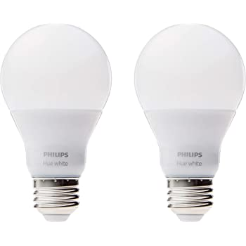 Philips Hue White A19 2-Pack 60W Equivalent Dimmable LED Smart Bulbs (Hue Hub Required, Works with Alexa, HomeKit & Google Assistant)