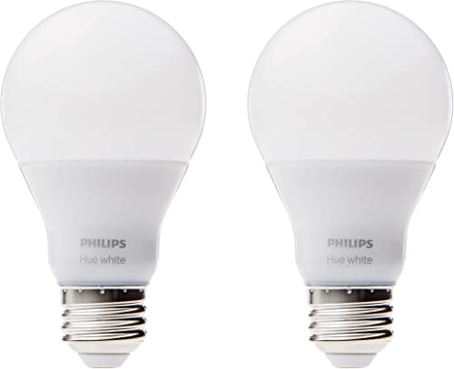 Philips Hue White A19 2-Pack 60W Equivalent Dimmable LED Smart Bulbs (Hue Hub Required, Works with Alexa, HomeKit & G...