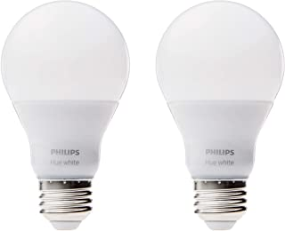 Philips 453100 Hue White A19 2-Pack 60W Equivalent Dimmable LED Smart Bulb (Compatible with Amazon Alexa, Apple HomeKit, a...