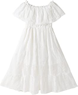 Girls Lace One-Shoulder Dress High Quality (Color : White)