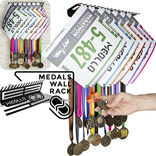 MEOLLO Medallero Colgador de medallas y dorsales (100% Acero) - Fabricado en España (Negro)