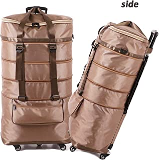 High capacity Scalable Holdall Trolley Bag Travel Trolley Handbag Wheeled Hand Luggage Bag (Color : Khaki, Size : 48cm×29cm×89cm)