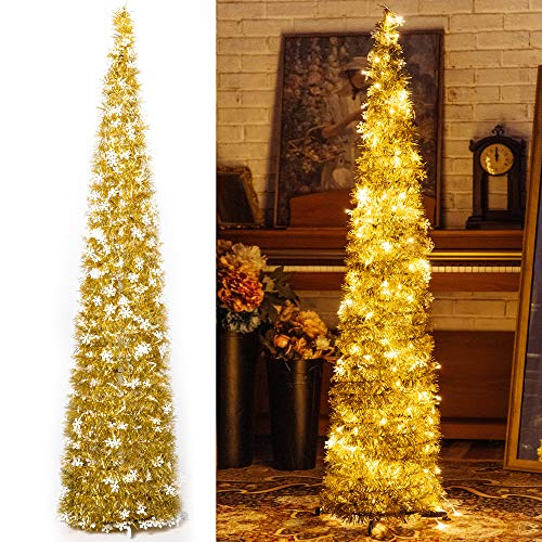 Pop-Up Artificial Christmas Tree with 100LED Lights ,Collapsible Pencil Christmas Trees for Holiday Carnival Party Christmas Decorations (Yellow)