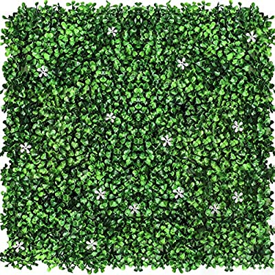 """Airbin 15.7""""23.6"""" Artificial Boxwood Panel Green Grass with White Flowers Topiary Plant, Privacy Protection and Decorative for Outdoor, Indoor, Garden, Fence and Commercial Activities (Sample)"""