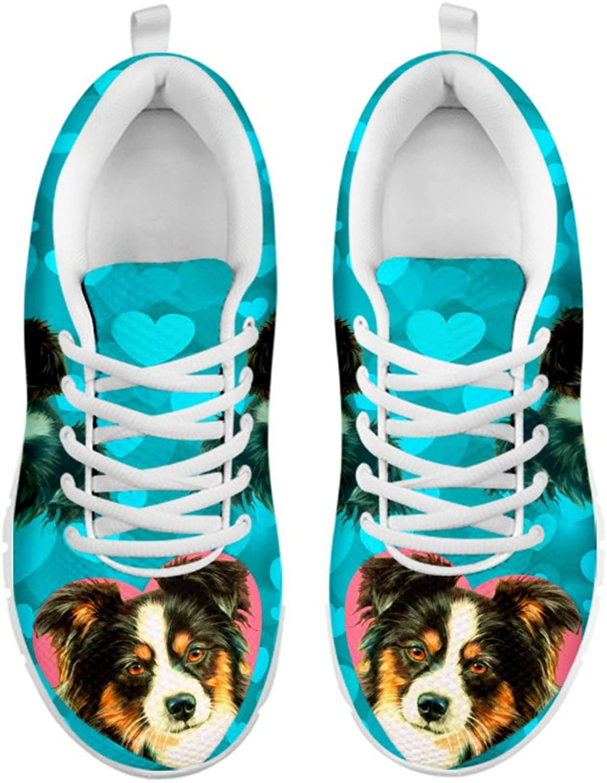 Pawlice Women's Sneakers-Australian Shepherd On Red Print Casual Running shoes