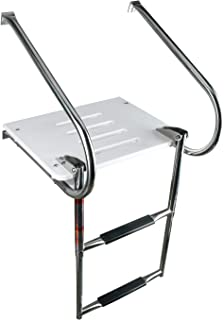 YaeMarine 2 Step Boat Inboard Swim Platform Polyethylene Ladder with Stainless Bracket