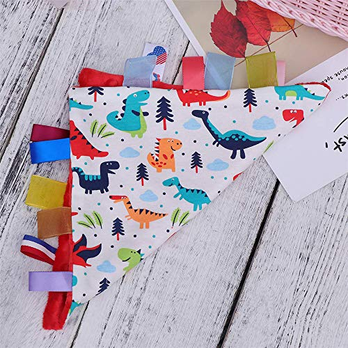 G-Tree Baby Comfort Blanket with Tag, Taggy Blanket - Multi-Coloured Dinosaurs Tag, Taggy Blanket - Re   d Textured Underside
