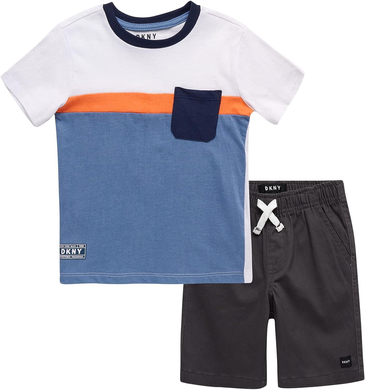 DKNY Baby Boys' Shorts Set - Short Sleeve T-Shirt and Shorts Playwear Set (Infant/Toddler)