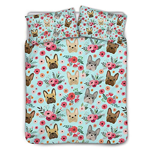 Babrukda French Bulldog with Pink Flowers Blue Bed Coverlet Comforter Set Animal Print Bedding with 2 Pillow Sheet Black Lining Twin 68x88in