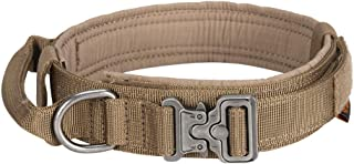 EXCELLENT ELITE SPANKER Tactical Dog Collar Adjustable K9 Military Dog Collar Nylon Training Heavy Duty Dog Collar with Handle(Coyote Brown-XL)