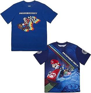 Nintendo Super Mario & Luigi Boys Athletic Gamer Top Graphic Tee Shirt 2 Pack (Black/Blue, 7)
