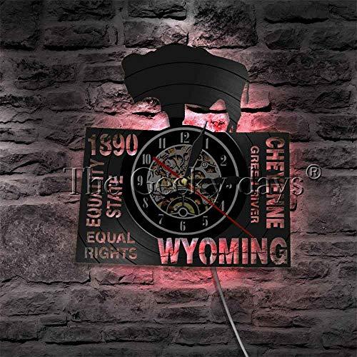 3D Vinyl Wanduhr gleichberechtigt gleichberechtigt Wyoming Wandlampe Hintergrundbeleuchtung Moderne Uhr Amerikanische Standuhr leuchtet im dunklen Nachtlicht