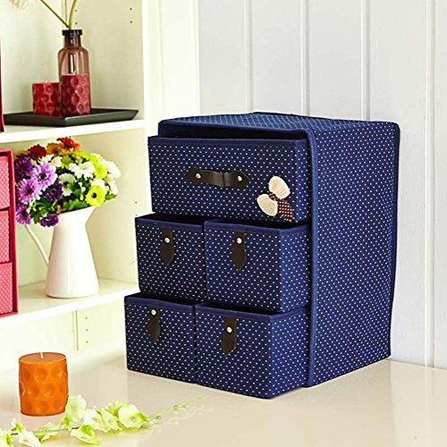 SHOUNAWANWU Boîte de Rangement/Type de tiroir/sous-vêtements/Chaussettes / Soutien-Gorge/Boîte de Finition/Bureau Pliable/Boîte de Rangement - Bleu