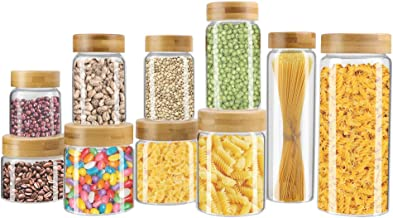 Weetall Glass Storage Jars Kitchen Canisters,10-SET Glass Cans with Lids Sealed, Leak-free Food Jars Clear Color, Multiple...