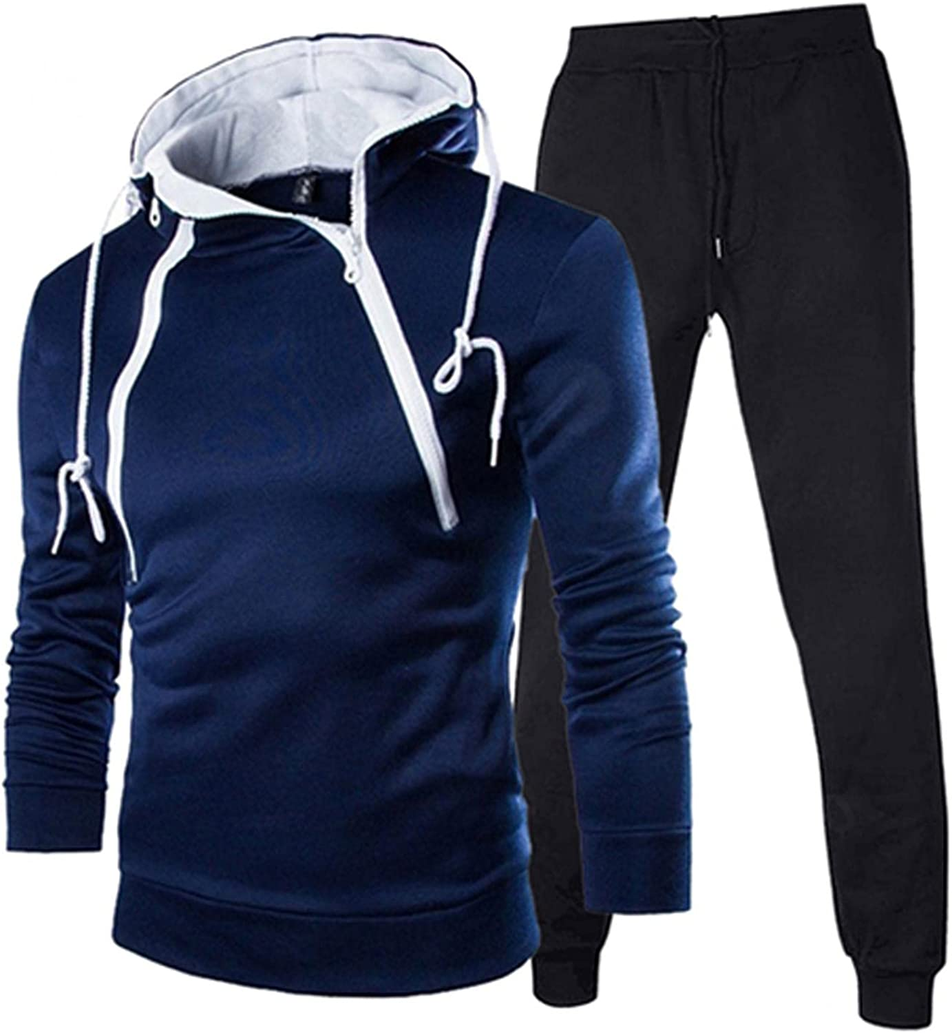 FUNEY Men's Hooded Athletic Tracksuit Casual Fashion Double Zipper Jogging Sweatsuits French Terry Hoodie and Jogger Sets