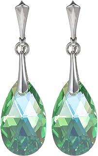 Crystal Diva Women's Silver Green Swarovski Elements Earrings