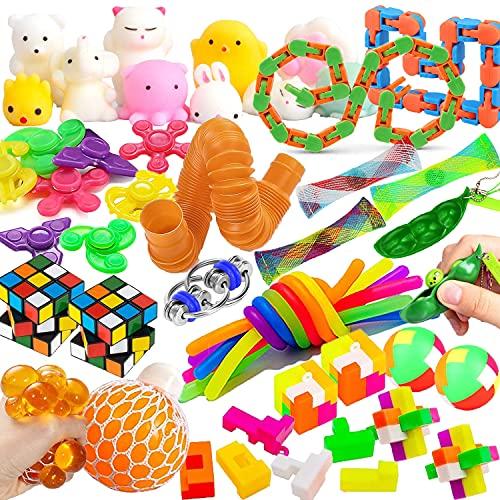 25-teiliges sensorisches Fidget-Spielzeug-Set, Stressabbau-Spielzeug für Kinder und Erwachsene mit Stressbällen, Geburtstagsparty-Gastgeschenke, Schatzbox-Preise, Schulklassenzimmer-Belohnungen, Karnevalspreise, Pinata-Goodie-Tütenfüller
