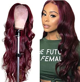 Wine Red Lace Front Wigs Synthetic Burgundy Red Synthetic Wigs for Women Long Wavy Lace Wig Heat Resistant 24 Inch (24inch)