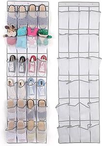 Banbie8409 Sac de Rangement à Suspendre en Nylon Non tissé pour Organisateur de Chaussures en Treillis (24) (Blanc)