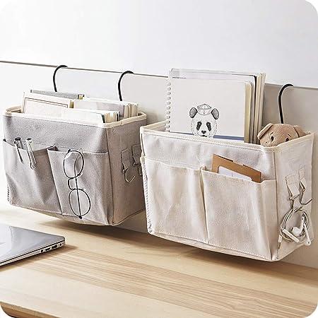 WOLFBUSH Bedside Caddy 2Pcs Bedside Hanging Storage Bag Bedside Storage Caddy Organizer Holder for Headboards Bunk Beds Hospital Bed Dorm Rooms