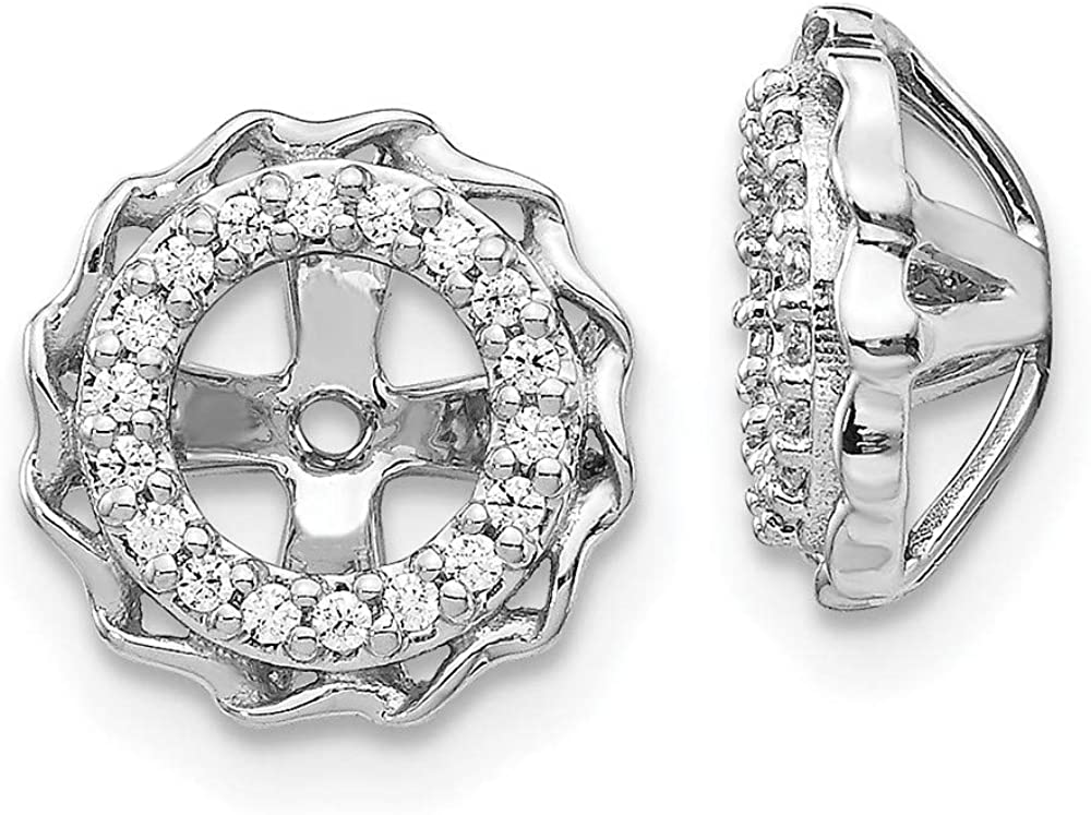 14k White Gold Twisted Edge Diamond Ear Jacket Jackets For Studs Fine Jewelry For Women Gifts For Her