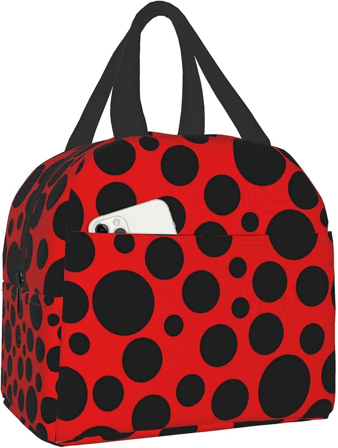 Bolsa de almuerzo Lady Bug Black Dots on Red Tote Bag Fiambreras Loncheras Bolsa térmica con aislamiento reutilizable Bolsa de comida térmica resistente al agua Bolsa de refrigerios