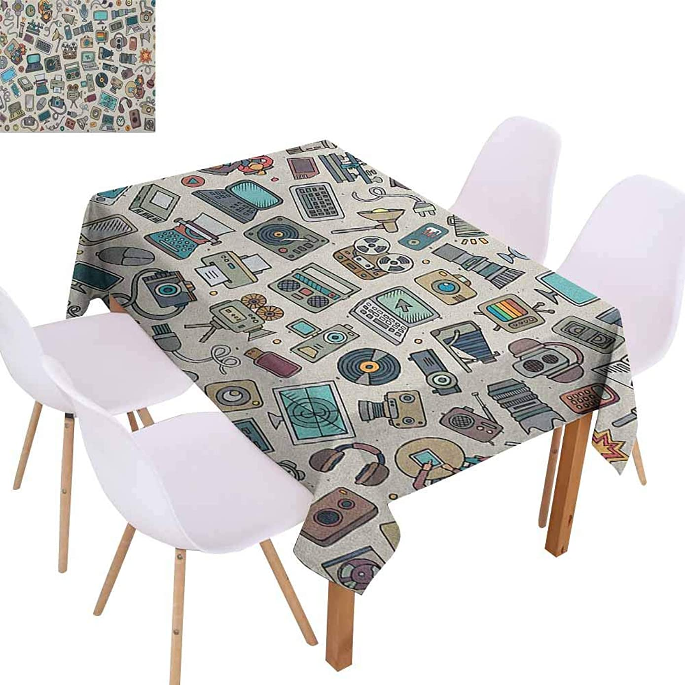 Washable Table Cloth Doodle Complation of Various Office Gadgets Recorder Tv Laptop Monitor Tablet Switch Mouse Easy to Clean W52 xL72 Multicolor