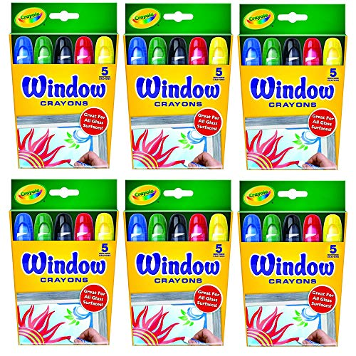 Crayola Washable Window Crayons - 5-count, 6 PACK