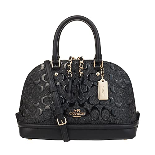 4189ec7f55 COACH Mini Sierra Satchel In Signature Debossed Patent Leather (Black)