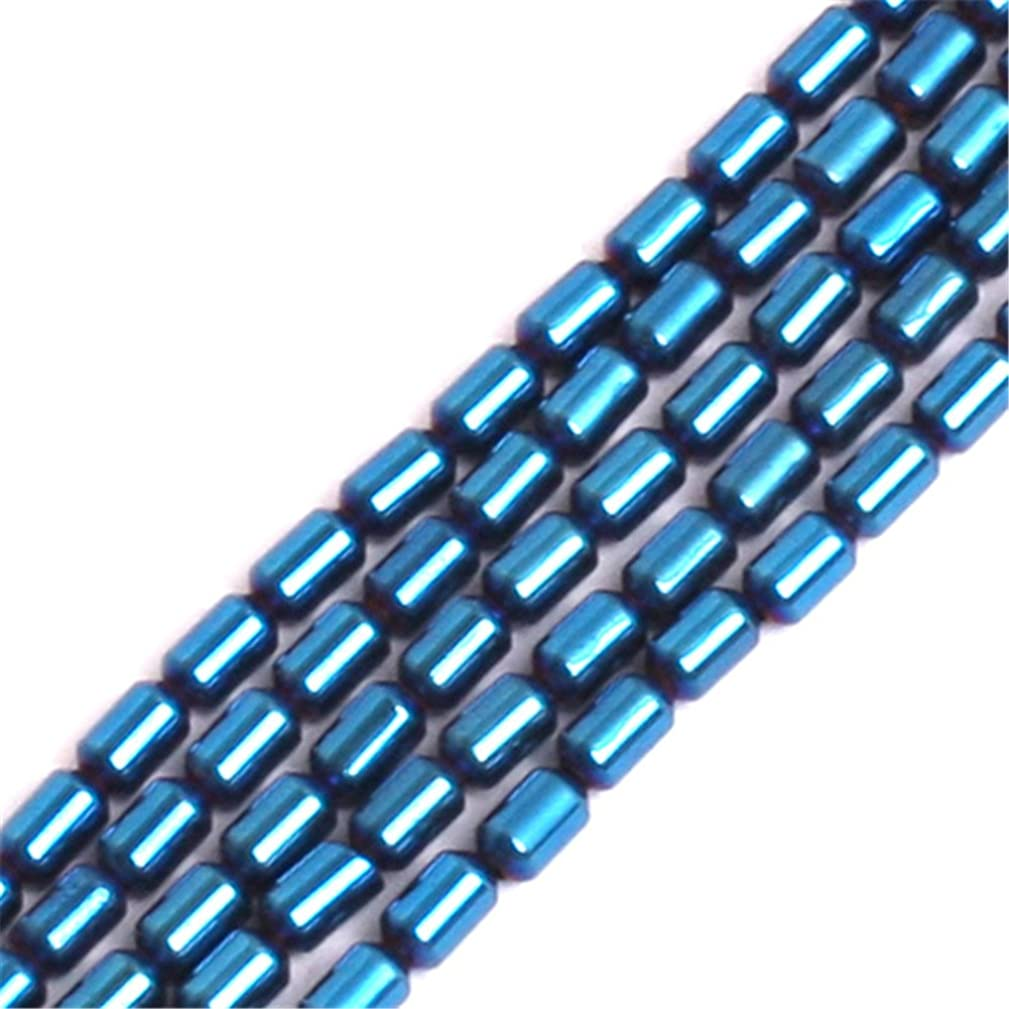 GEM-inside 2x4mm Blue Metallic Coated Column Tube Hematite Gemstone Loose Beads Energy Stone Beads for Jewelry Making Jewelry Beading Supplies for Women