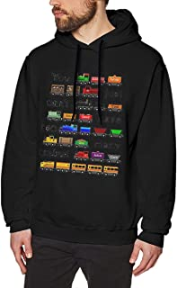 Nutmix Mens Too Many Trains Outdoor Long Sleeve Pullover Hoodies - Available Up to Size 3XL M Black