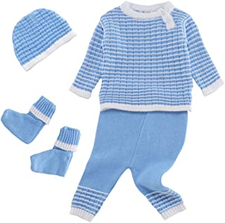 Booulfi Baby Boy's/Girl's Unisex Warm Winter 4 Pieces Set Newborn Cotton Yarn Knitted Sweater Cream/Pink/Blue