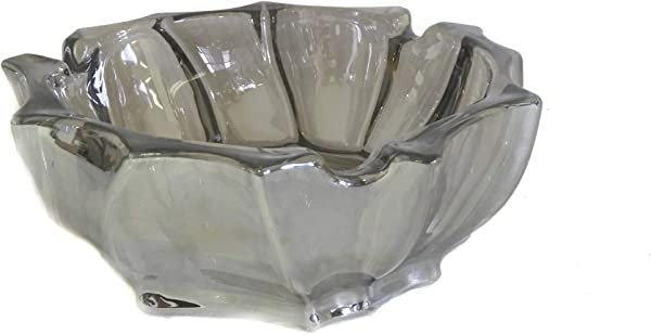 Large Deep Crystal Glass Ashtray 5 75 Round Cut Fancy Design Gift Boxed