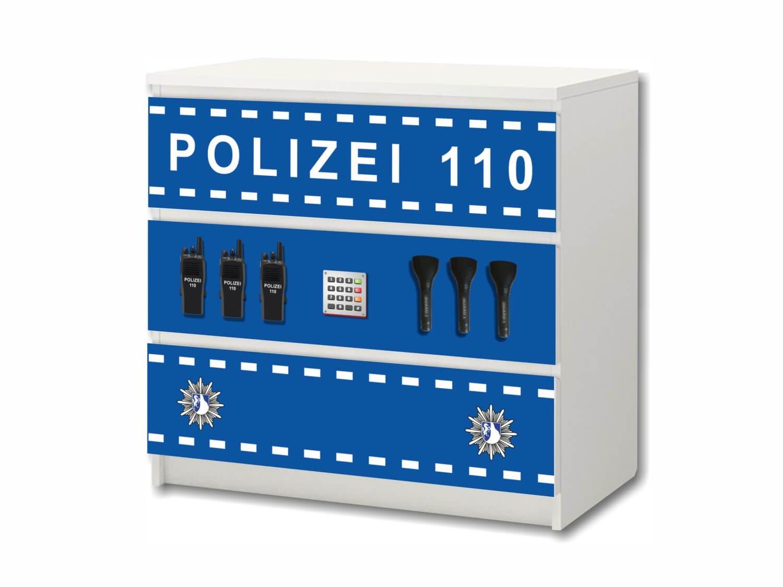 Policía pegatina de muebles | M3K21 | Pegatinas adecuadas para la cómoda MALM con 3 compartimentos de IKEA (el mueble no es incluido) | STIKKIPIX: Amazon.es: Hogar