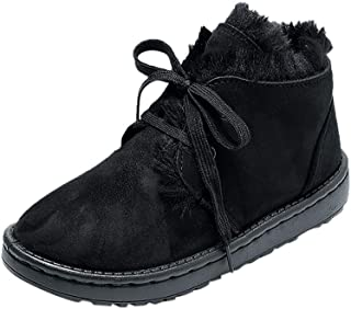 QueenMM Casual Winter Snow Flat Boots Comfort Cotton Warm Fur Lined Lace-Up/Slip-On Ankle Booties Outdoor Short Boots