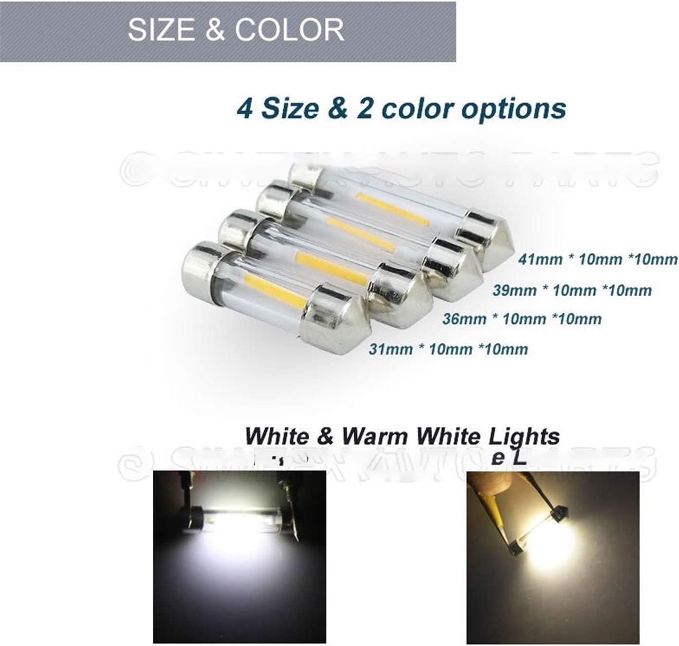 GSDGBDFE 2 pz 31mm 31mm 36mm 39mm 41mm Auto Dome Festoon Lights Indicatore Lampadina Lettura Mappa Lampato Lampada DC 12V Bianco Caldo Bianco Color Temperature : 31MM, Emitting Color : White