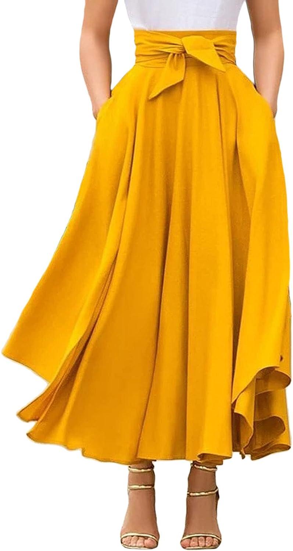 CHARTOU Women's Elegant High Waist Tie Knot Pleated Swing Flowy Midi Skirt