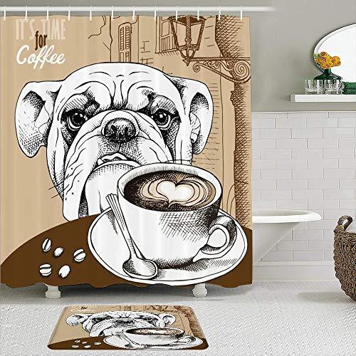 Stoff Duschvorhang & Matten Set,Brown Bulldog Cup Kaffee H& Tiere Old Cappuccino Wildlife Food Drink Restaurant Hot Bean Frühstück,wasserabweisende Badvorhänge mit 12 Haken,rutschfeste Teppiche