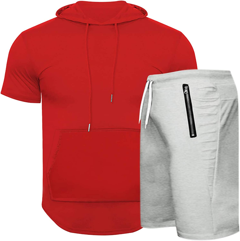 Mens Outfits Tracksuit 2PCS Set,Men's Summer Hooded Sporty Textured Slit Short Sleeve Shorts Set