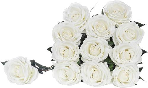 "2021 Royal Imports Artificial White Roses, 1 discount Dozen Realistic Silk Touch, 30"" Long Single Stems, Use for online sale Bouquet, Centerpiece, Wedding, Home Decor Vase, Flower Gift outlet online sale"