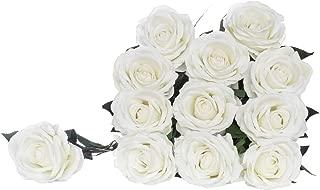 "Royal Imports Artificial Silk Roses Velvet 30"" Long Stemmed, 1 Dozen Flowers for Bouquets, Mother's Day, Weddings or Gift - White"