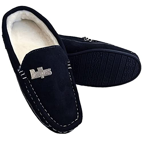 60a9e5896 The Beatles Rock Robes Stitch Moccasin Men s Slippers Black
